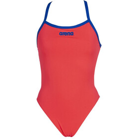 arena Solid Light Tech High One Piece Swimsuit Women fluo red/neon blue